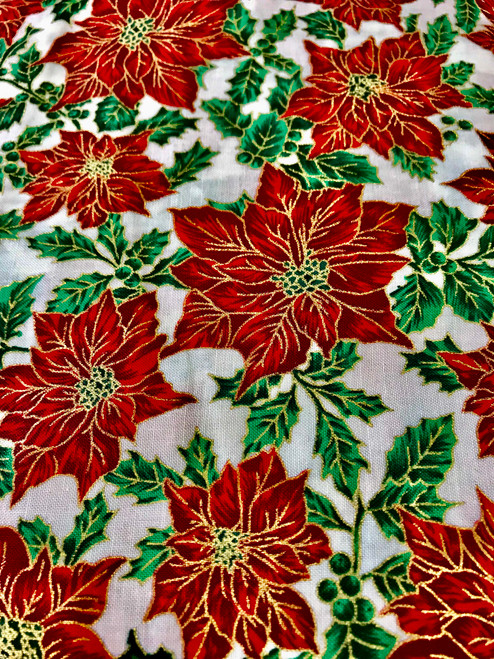 Christmas Poinsettia 100% Cotton Fabric, 135cm/53 in Wide, Sold Per HALF Metre
