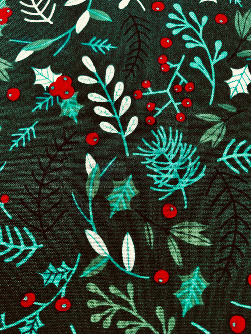 Christmas Evergreen on Green - 100% Cotton Fabric, 135cm/53 in Wide, Sold Per HALF Metre