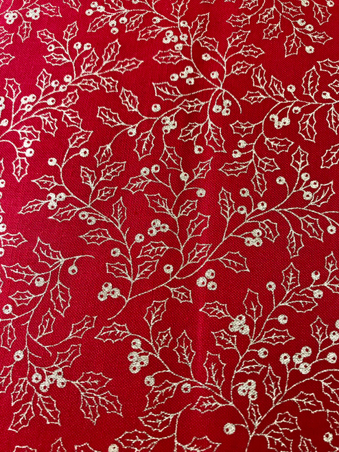 Gold Holly leaves on Red - 100% Cotton Fabric, 135cm/53 in Wide, Sold Per HALF Metre