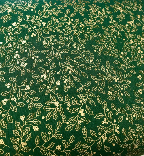 Gold Holly leaves on Green - 100% Cotton Fabric, 135cm/53 in Wide, Sold Per HALF Metre