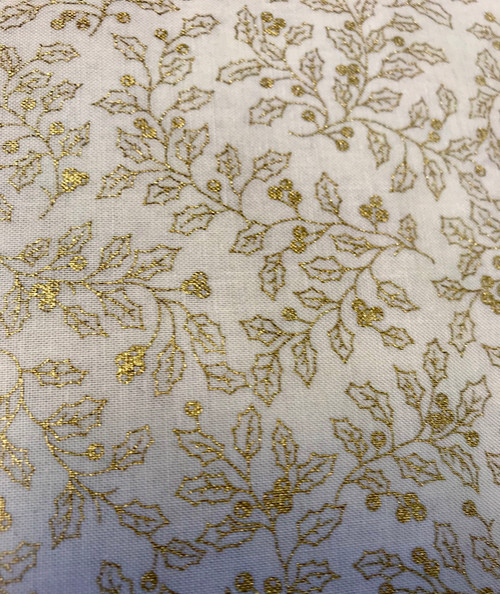 Gold Holly leaves on Cream - 100% Cotton Fabric, 135cm/53 in Wide, Sold Per HALF Metre