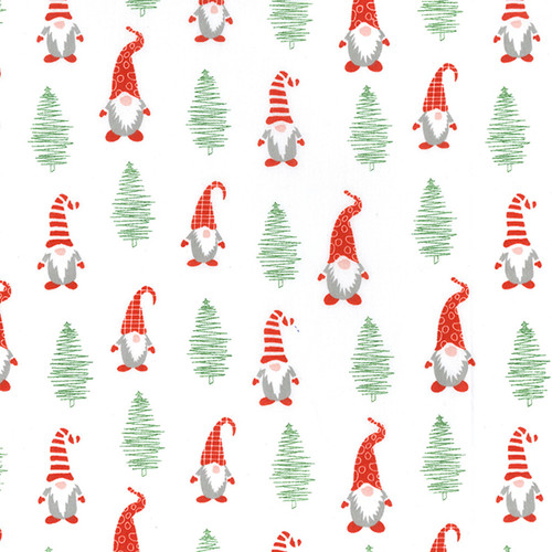 Christmas Gnomes & Trees on White Polycotton Fabric, 43in wide, Sold Per HALF Metre