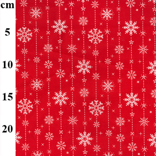 Christmas Snow Flakes on Red Polycotton Fabric, 43in wide, Sold Per HALF Metre
