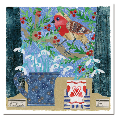 ROBIN AND HEART CUP- CHRISTMAS 6 CARD PACK
