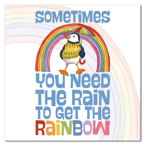 Rainbow Puffin Feathery Feels Food Greetings Card
