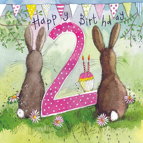 Two Bunnies 2nd Birthday Card