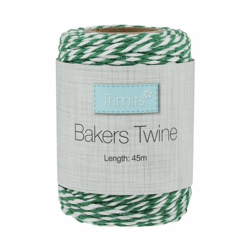 Bakers Twine 2mm width in Green/White- 45metre roll