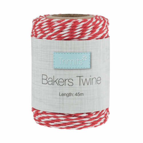 Bakers Twine 2mm width in Red/White- 45metre roll