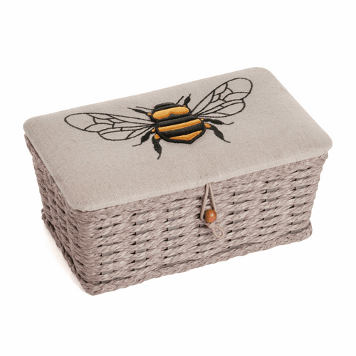 Sewing Box - Small perfect size. Woven basket & Linen Bee Design