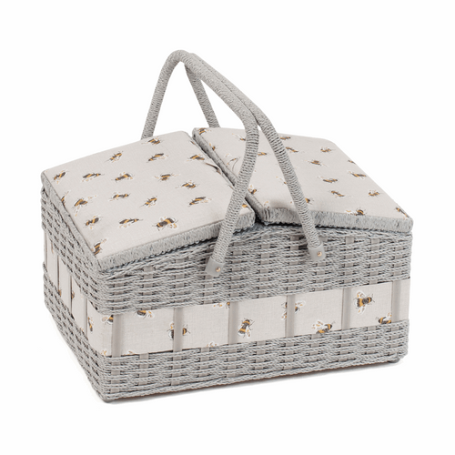 Deluxe Sewing Box in Wicker Basket with Bee Design