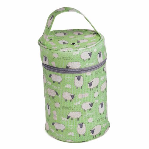 Yarn Holder In Green Matt PVC Fabric  with  Sheep Design