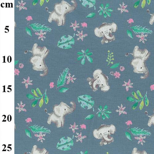 Elephant Print on Dusty Blue Cotton Jersey Fabric, 150cm/59in wide, Sold Per HALF Metre
