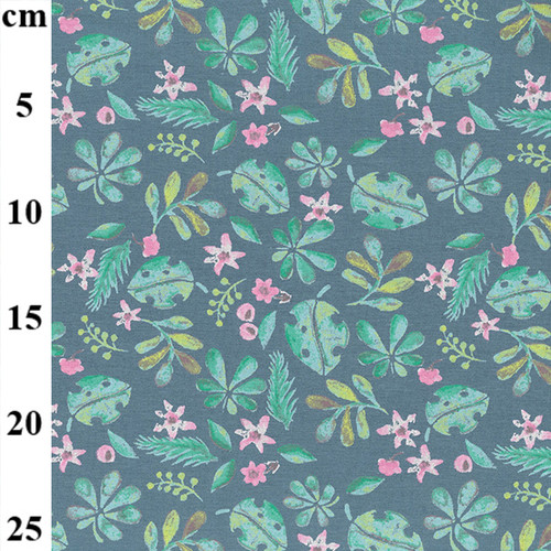Leaf Print on Dusty Blue Cotton Jersey Fabric, 150cm/59in wide, Sold Per HALF Metre