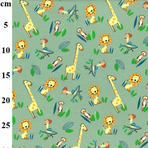 Zoo Print on Dusty Green Cotton Jersey Fabric, 150cm/59in wide, Sold Per HALF Metre