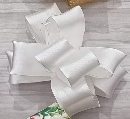 White Double-Faced Satin Ribbon, Wired Edge, 38mm wide (Sold Per Metre)