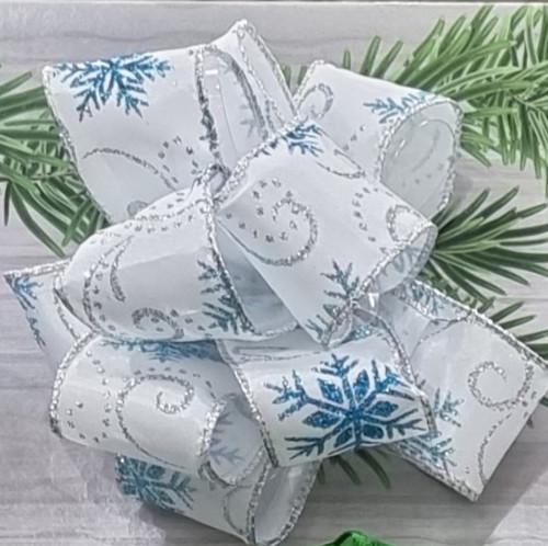 Blue Glitter Snowflakes & Silver Glitter Swirls on White Taffeta Satin Ribbon, Wired Edge, 38mm wide (Sold Per Metre)