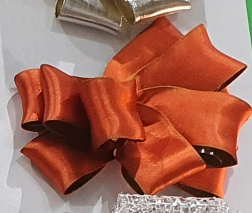 Autumn Orange and Sage Green Reversible Satin Ribbon with Wired Edge, 38mm wide (Sold Per Metre)