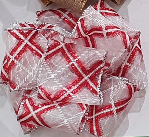 Red & Silver Plaid on White Sheer Ribbon with Wired Edge, 63mm wide (Sold Per Metre)