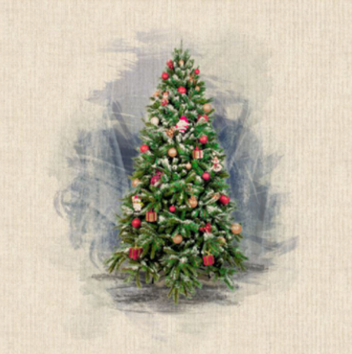 Christmas Tree Panel Digital Print on Natural Linen-Look Panama Fabric, Sold Per Panel