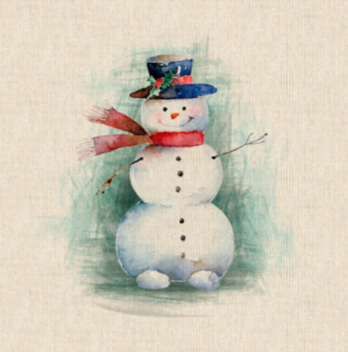 Christmas Snowman Panel Digital Print on Natural Linen-Look Panama Fabric, Sold Per Panel