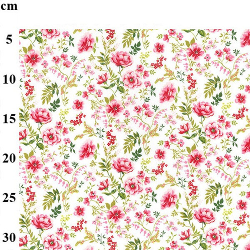 Pink Floral Print on White 100% Cotton Poplin Fabric, 145cm/57in wide, Sold Per HALF Metre