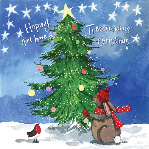 Rabbit Christmas Tree Card