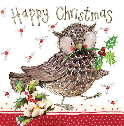 Owl & Holly Christmas Card