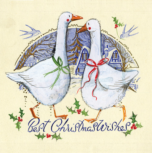 Vintage Geese Christmas card