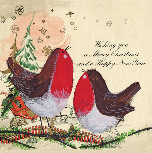 Vintage Robins Christmas card