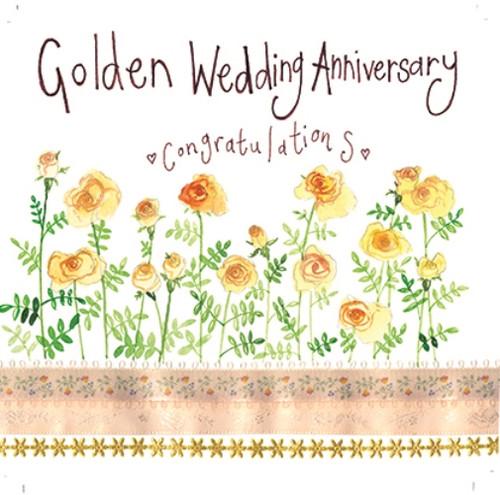 Golden Roses Golden Wedding Anniversary Card