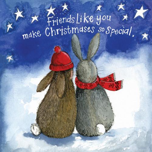 Christmas Friends Rabbits Little Starlight Christmas Card