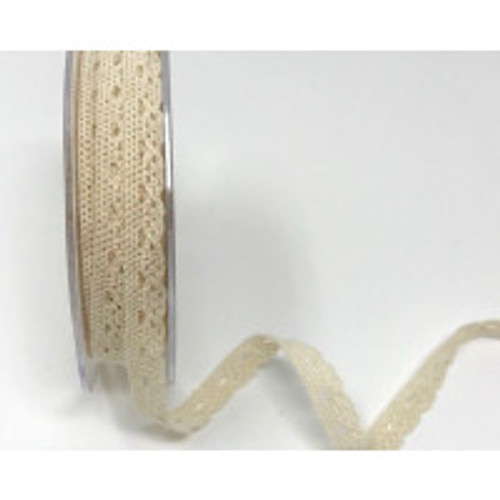 Ivory 6mm Scalloped Edge Cotton Lace - Sold Per Metre