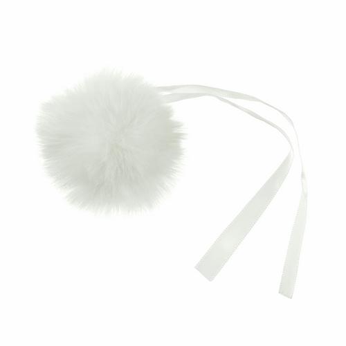 Pom Pom Faux Fur in Medium size (6cm) - White