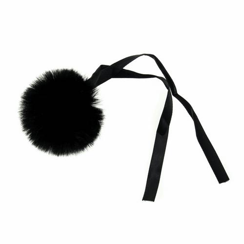 Pom Pom Faux Fur in Medium size (6cm) - Black