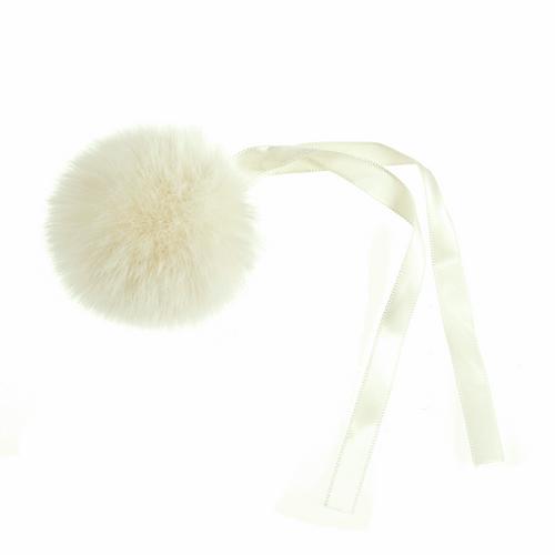 Pom Pom Faux Fur in Medium size (6cm) - Cream