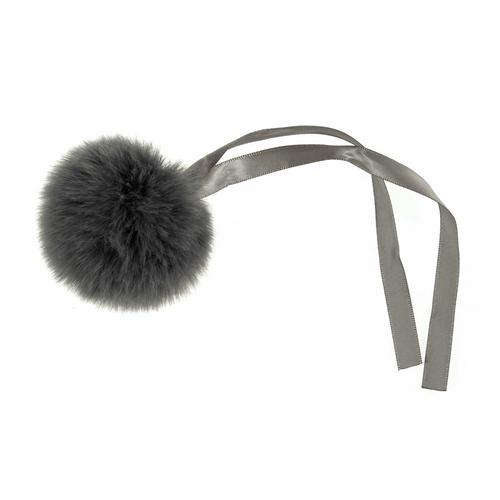 Pom Pom Faux Fur in Medium size (6cm) - Grey