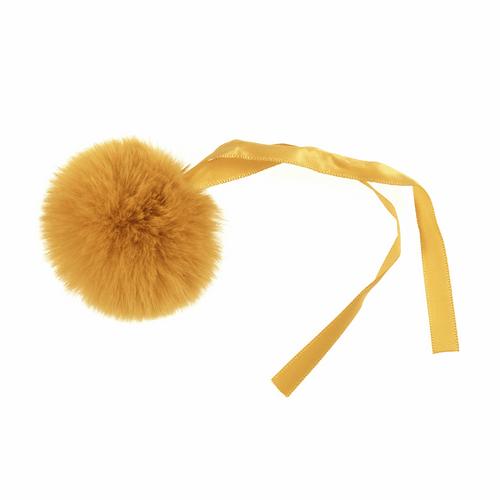 Pom Pom Faux Fur in Medium size (6cm) - Mustard