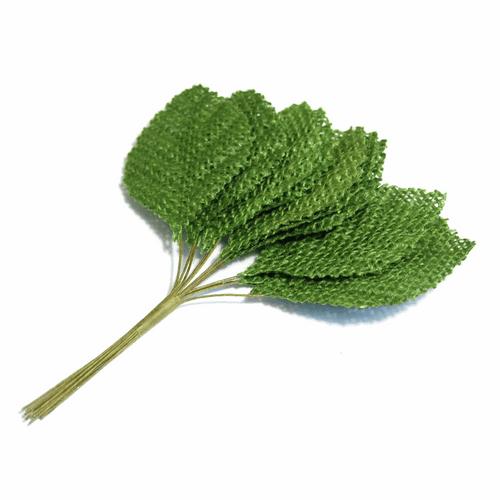 Rose Green Burlap  Leaves-  36mm in Individual Packs of 12