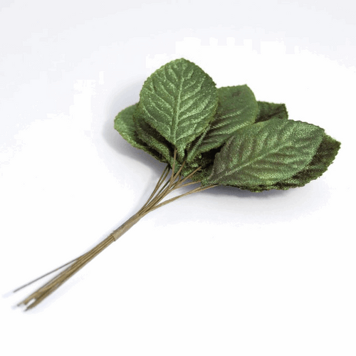 Rose Leaves  with a Velvet Touch ( 27mm) 12 Leaves per bundle