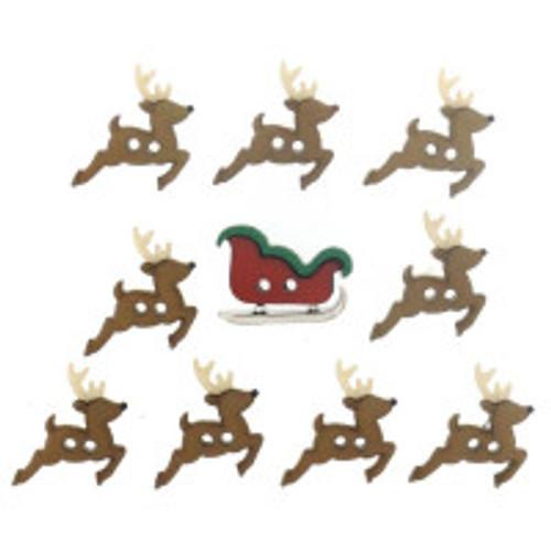 Sew Cute Sleigh/Reindeer Novelty Christmas Buttons
