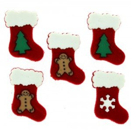 Stockings Novelty Christmas Buttons by Dress It Up
