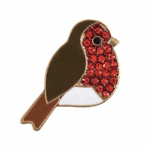 Christmas Diamante Robin Button (Shank) -  25mm: Width in Gold - Sold Single