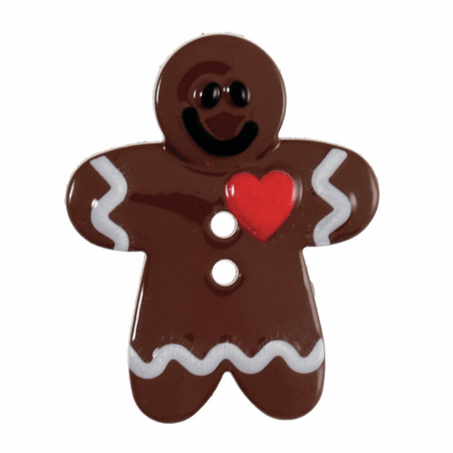 Gingerbread Man ( Heart ) Novelty Christmas Buttons, Sold Individually
