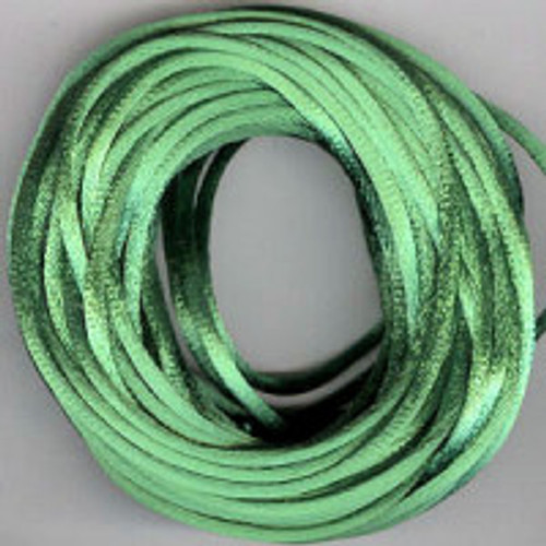 Emerald Rats Tail Satin Cord, 2.5mm thick, Sold Per Metre