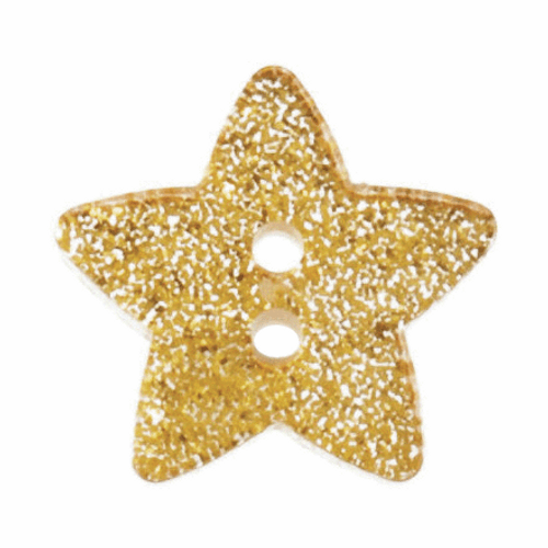Star Glitter Button - 18mm in Glitter Gold ( Sold Individually)
