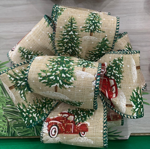 Vintage Cadillac Christmas Burlap Ribbon with Gold Wired Edge, 63mm wide (Sold Per Metre)