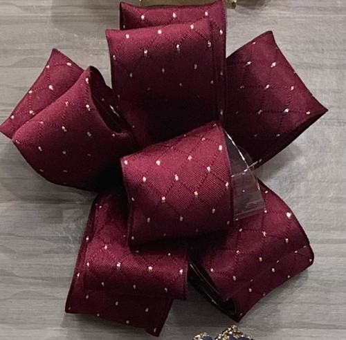 Burgundy Wired Edge Ribbon with Delicate Gold Highlights, 38mm wide (Sold Per Metre)