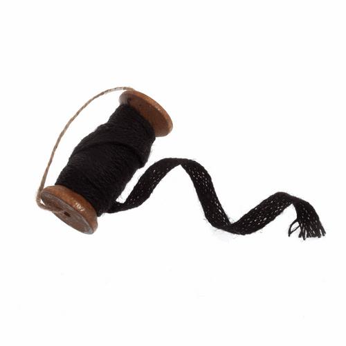 Black Jute Trim on Vintage Wooden Spool (2metres  x 10mm Width)