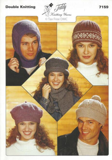 7159 - Easy Knitting Pattern -  Adults Hats