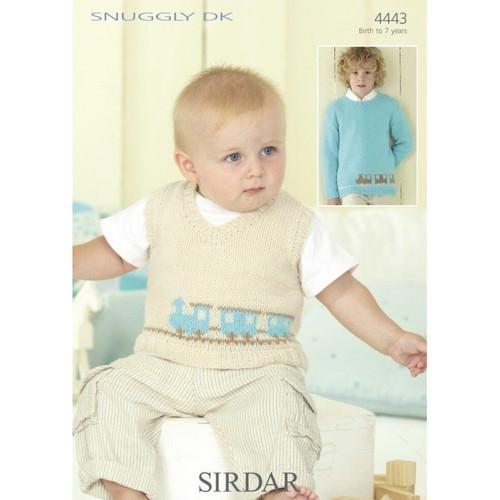Sirdar Knitting Pattern 4443 Baby Childrens Choo Choo Train Jumper 0-7 Years